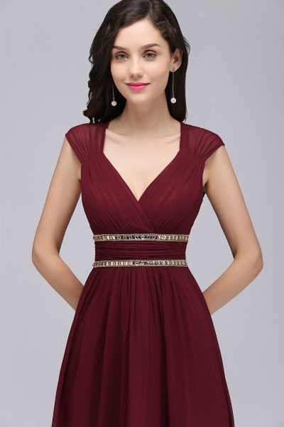 V-neck Cap Sleeves Chiffon Column Floor Length Bridesmaid Dress_14