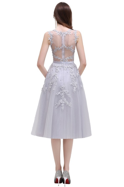 EMORY | A-Line Crew Tea Length Lace Appliques Short Prom Dresses_9