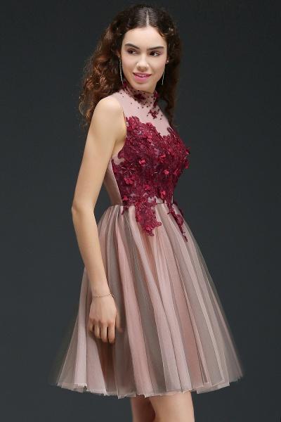 Exquisite High Neck Satin A-line Homecoming Dress_6