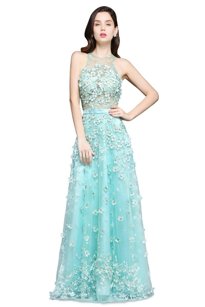 ARIAH | A-line Floor Length Tulle Amazing Evening Dresses with Flowers_1