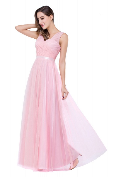 ELLIOT | A-line Sleeveless V-neck Floor-length Tulle Bridesmaid Dresses_11