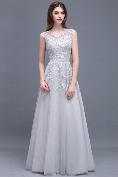 Beautiful V-neck Tulle A-line Evening Dress_8