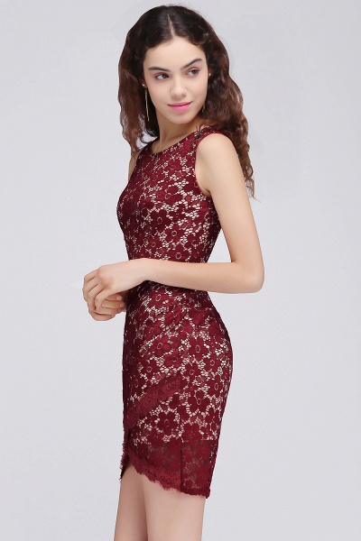 Burgundy Bodycon Round Neck Short Lace Homecoming Dresses_5