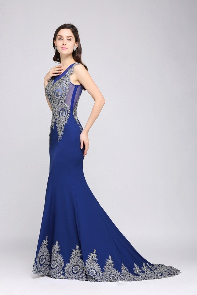 ANNIE | Mermaid Scoop Sweep Train Royal Blue Prom Dresses with Appliques_4