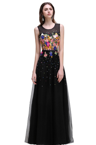 CAMERON | A-line Jewel Neck Tulle Black Prom Dresses with Embroidery Flowers_1