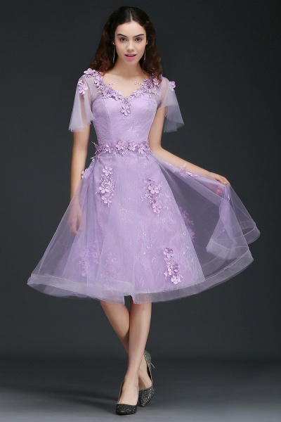 ALIANA | A Line V Neck Lilac Short Cocktail Homecoming Dresses With Sleeve_2