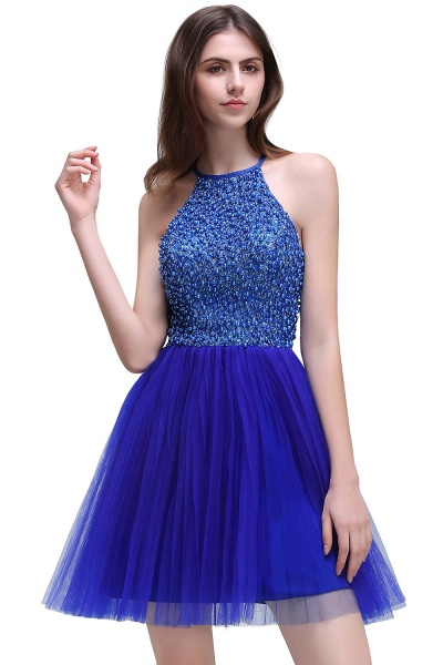 CAITLYN   A-line Halter Neck Short Tulle Royal Blue Homecoming Dresses with Beading_1