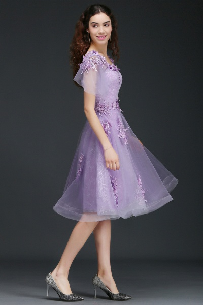 ALIANA | A Line V Neck Lilac Short Cocktail Homecoming Dresses With Sleeve_4