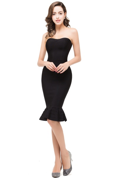 DALLAS | Mermaid Strapless Knee-Length Short Black Prom Dresses_5