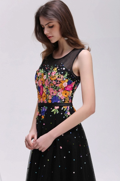 CAMERON   A-line Jewel Neck Tulle Black Prom Dresses with Embroidery Flowers_4