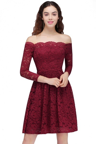 Lace A-Line Off-the-Shoulder Burgundy Short Homecoming Dress_2