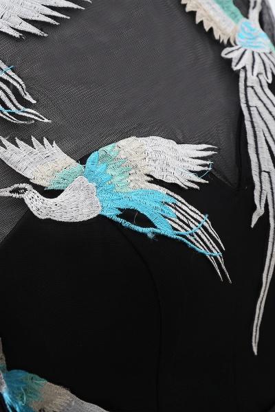 CHARLI | Sheath Round neck Embroidery Long Sleeves Black Prom Dress_7