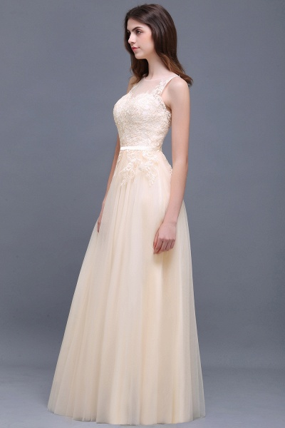 A-line Floor-Length Tulle Bridesmaid Dress With Lace_8