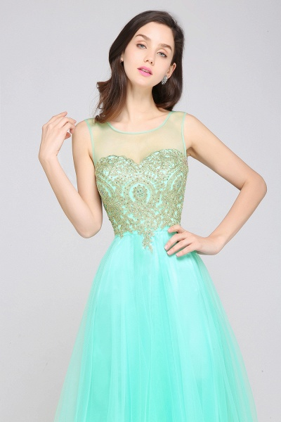 ARIA | A-line Scoop Tulle Gorgeous Evening Dresses with Appliques_11