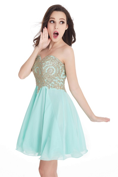 A-Line Strapless Short Chiffon Prom Dresses with Beadings_10