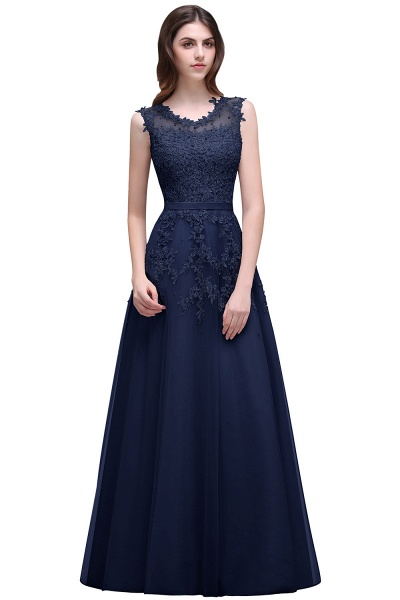 Beautiful V-neck Tulle A-line Evening Dress_6