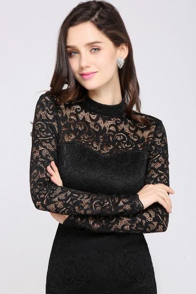 ARYANNA | Sheath High Neck Short Black Lace Cocktail Dresses_7