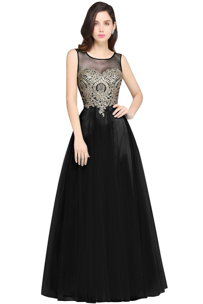 ARIA | A-line Scoop Tulle Gorgeous Evening Dresses with Appliques_6