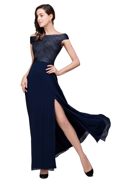 FRANCESCA | Sheath Off Shoulder Floor-Length Chiffon Prom Dresses_1