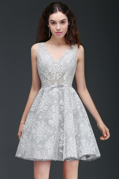 ALEAH | A Line Strtaps Lace Cocktail Homecoming Dresses With Sash_1