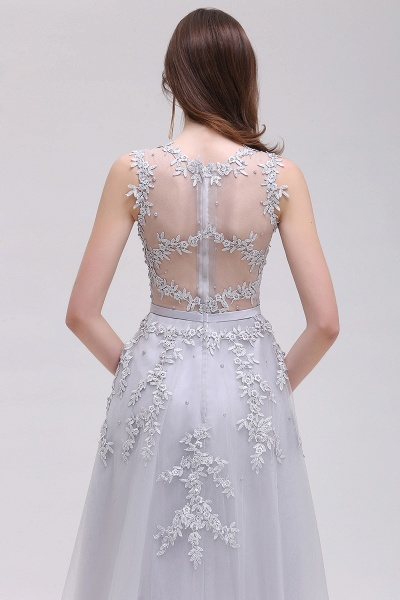EMORY | A-Line Crew Tea Length Lace Appliques Short Prom Dresses_13