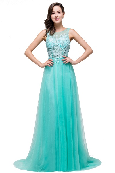 A-line Tulle Appliques Court Train Evening Dress_9