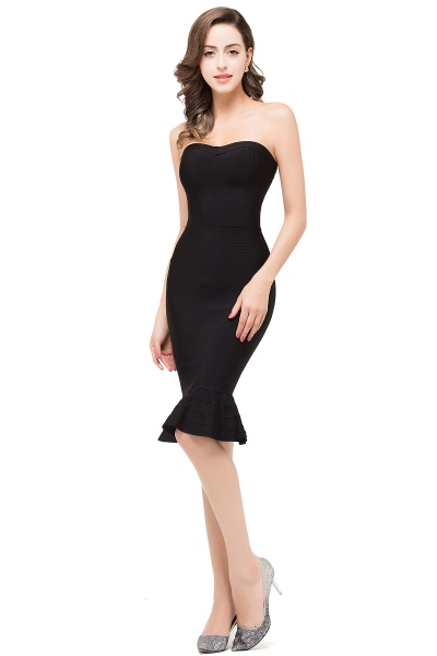 DALLAS | Mermaid Strapless Knee-Length Short Black Prom Dresses_4