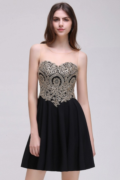 CAITLIN | A-line Short Chiffon Black Homecoming Dresses with Appliques_5