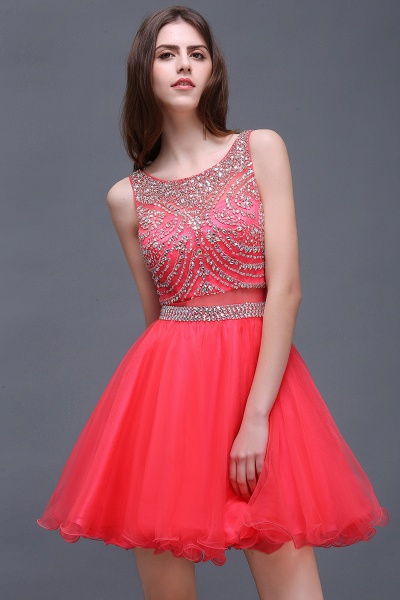 BIANCA | Puffy Straps Short Tulle Homecoming Dresses With Crystal_5