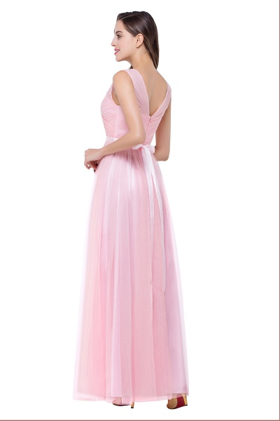 ELLIOT | A-line Sleeveless V-neck Floor-length Tulle Bridesmaid Dresses_8