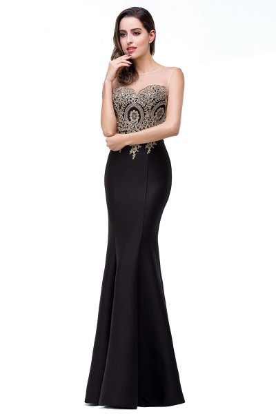 Mermaid Floor-Length Sheer Prom Dresses with Rhinestone Appliques_23