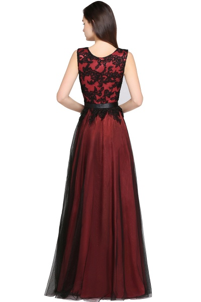 ARABELLA | A-line Scoop Floor Length Lace Cheap Evening Dresses_5