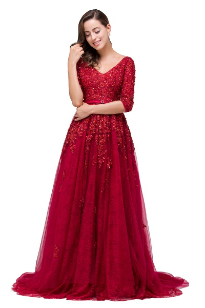 FRANCES | A-Line Floor-Length V-neck Half Sleeves Lace Appliques Prom Dresses_8