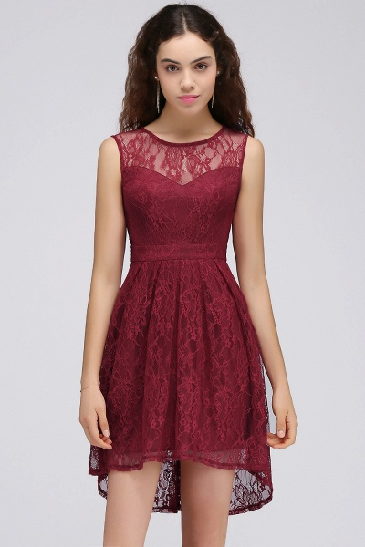 BRIELLE | A-Line Round Neck Short Lace Burgundy Homecoming Dresses_4