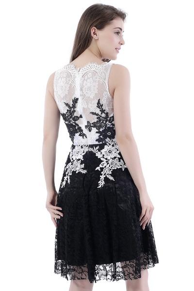 DAHLIA | Short Sheath Sleeveless Black Lace Prom Dresses_3