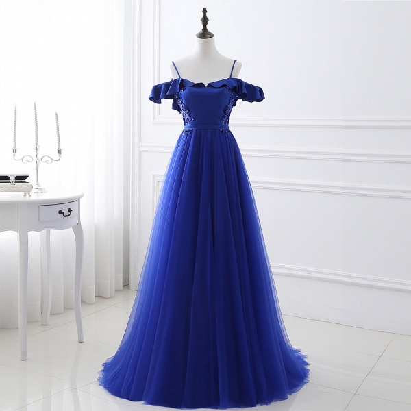 CHANEL   Ball Gown Off-the-shoulder Floor-length Blue Tulle Prom Dress_5