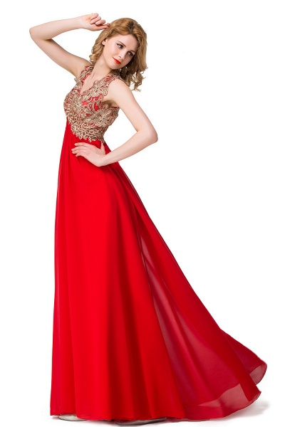 ESME | A-Line Floor-Length Sleeveless V-Neck Lace Appliques Prom Dresses_7