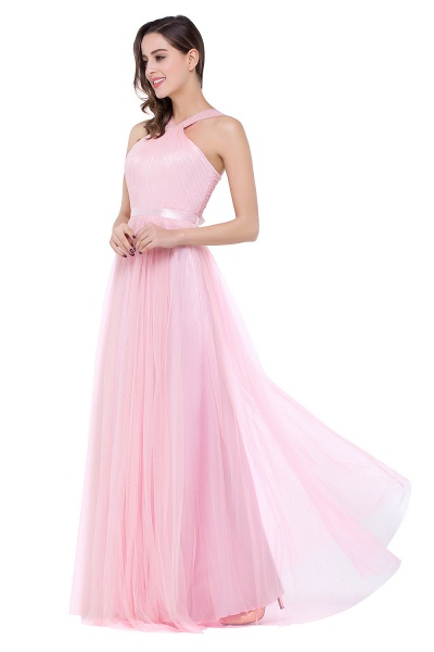 ELLIOTT   Sheath Floor-length Pink Tulle Bridesmaid Dresses with Ribbon Sash_7