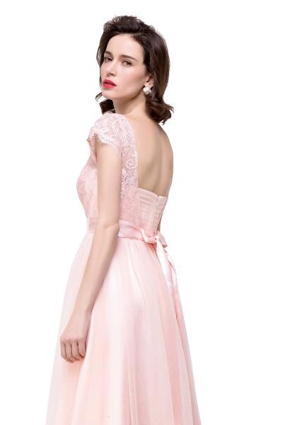 ELLIANA | A-line Short Sleeve Chiffon Bridesmaid Dresses with Ribbon Bow Sash_9