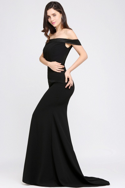 ARIYA | Mermaid Sweep Train Off The Shoulder Black Evening Dresses_6