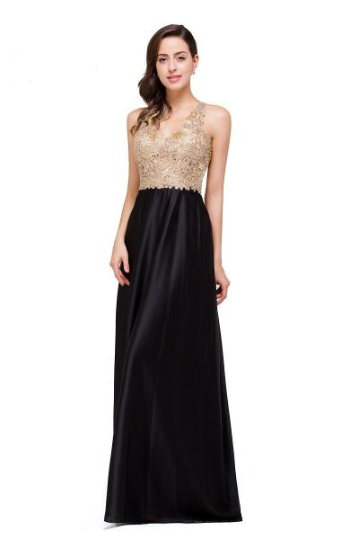 EMMALINE | A-Line Floor-Length V-neck Appliques Prom Dresses_7