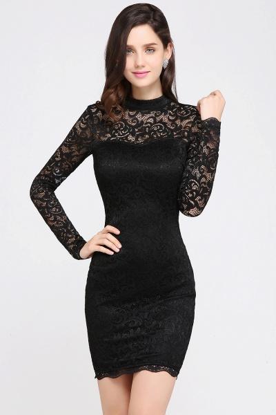 ARYANNA | Sheath High Neck Short Black Lace Cocktail Dresses_5