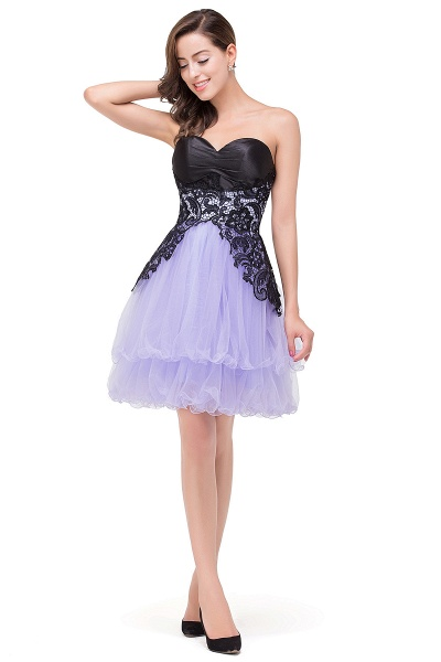 EVALYN | A-line Sweetheart Short Prom Dresses with Bowknot-Sash_4