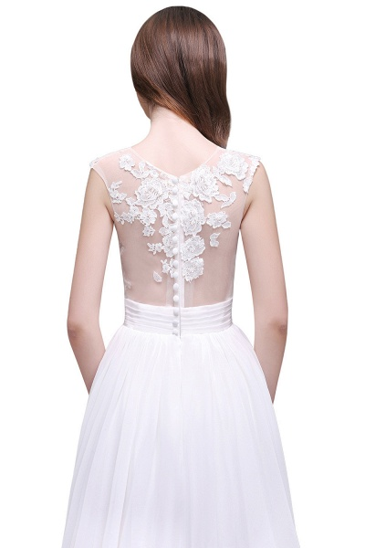 Chiffon Lace Appliques Sleeveless Boho Wedding Dress_7
