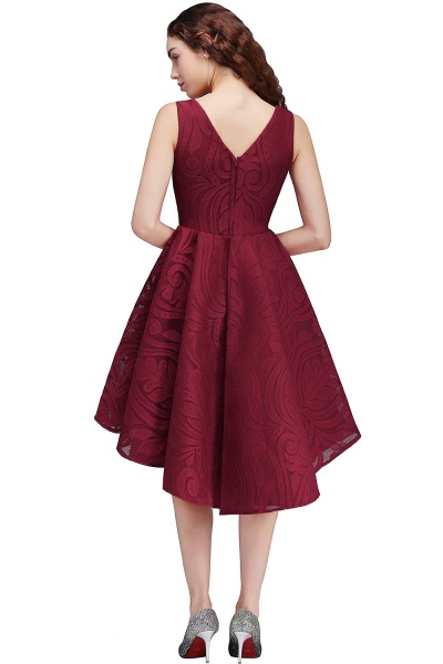 ALEJANDRA | A Line V Neck Burgundy Lace Cocktail Homecoming Dresses_5