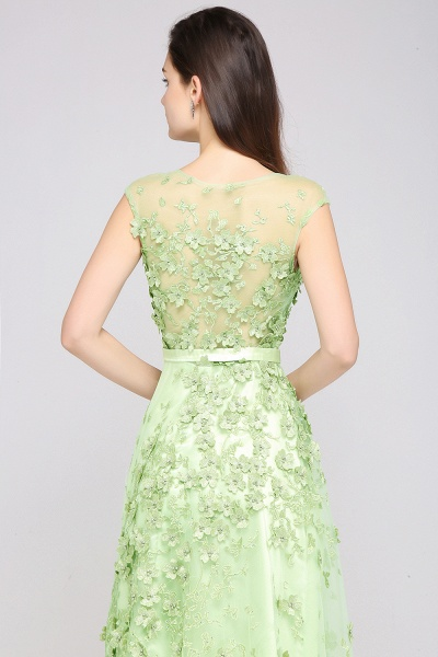 ARDEN | A-line Floor Length Tulle Green Prom Dresses with Appliques_7