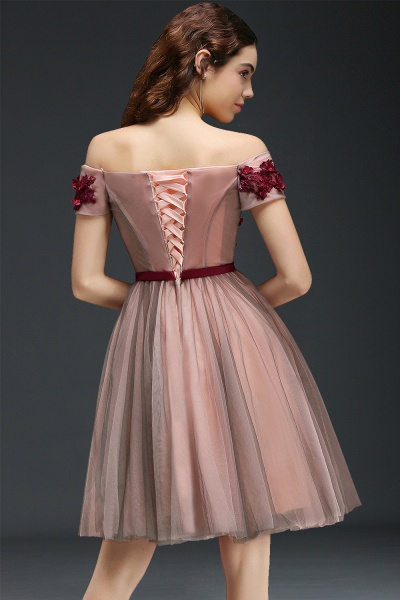 Sleek Off-the-shoulder Tulle A-line Homecoming Dress_2