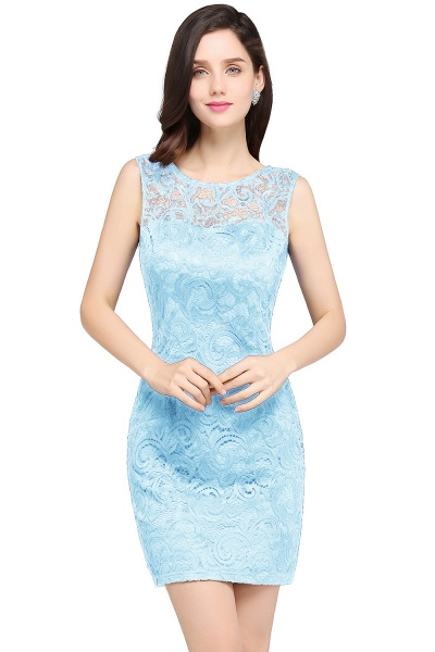 Elegant Scoop Lace Column Bridesmaid Dress_4