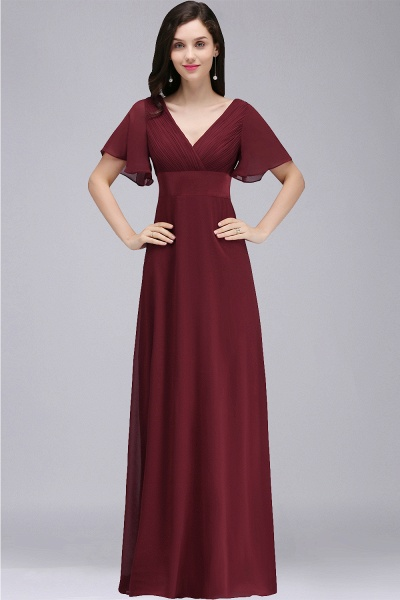 A-line V-neck Floor Length Chiffon Bridesmaid Dress_1