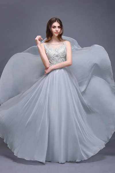 Scoop Chiffon A-line Floor Length Bridesmaid Dress_1